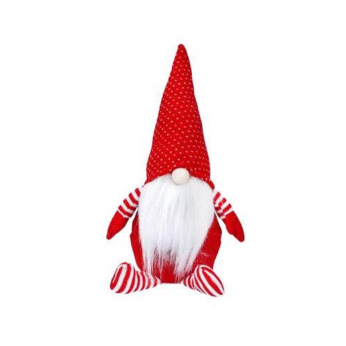 Red & White Fabric Sitting Santa Gonk Ornament
