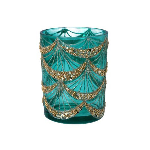 Turquoise Glass Candle Holder with Gold Sequin Swags - Large