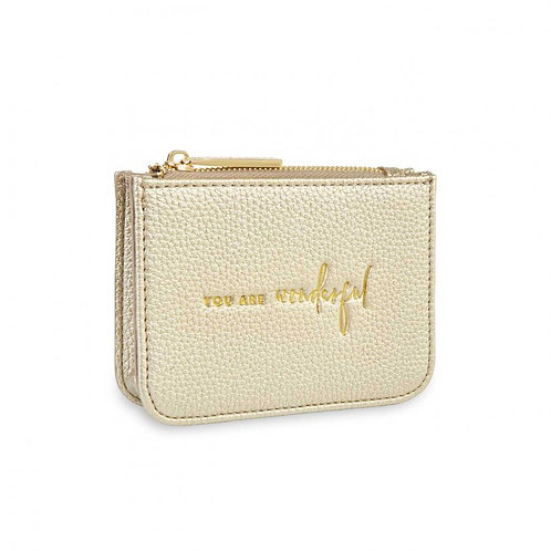 KATIE LOXTON STYLISH STRUCTURED COIN PURSE | YOU ARE WONDERFUL | GOLD
