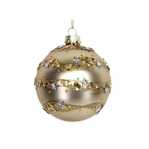 Matte Gold Glass Bauble with Star Band Embellishment