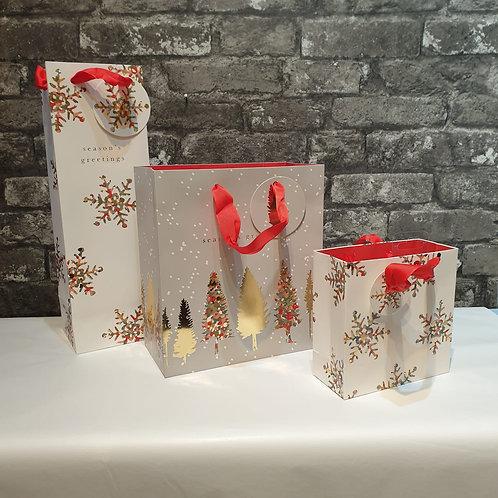 Luxury Snowflake Bottle Gift Bag