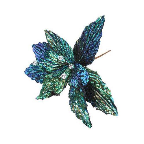 Metallic Peacock Fabric Poinsetta Pick