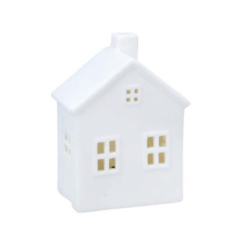 White Ceramic LED House Ornament