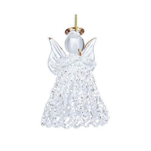 Glass Filigree Angel Decoration with Gold Detailing