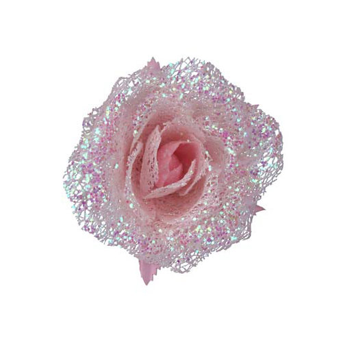 Pale Pink Acrylic Glitter Rose Clip