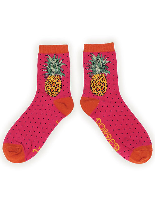 Leopard Pineapple Ankle Socks