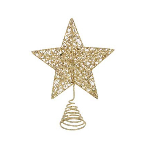Gold Glitter Wire Mesh Tree Top Star