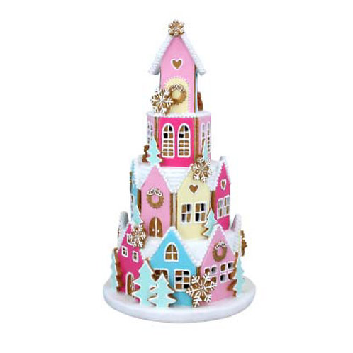 Pastel LED Gingerbread Village Ornament