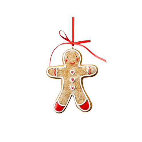 Gingerbread Boy with Hearts Decoration