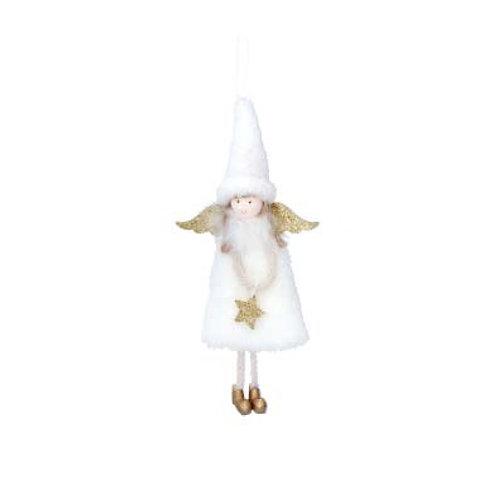 Faux Fur White & Gold Fairy Decoration