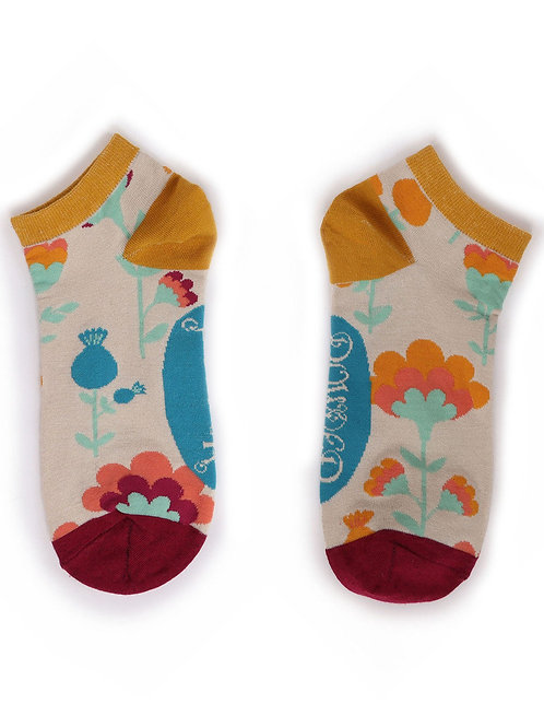 Scandi Floral Trainer Socks