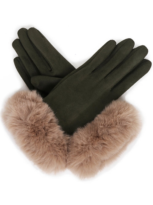 Bettina Faux Suede Gloves - Sage