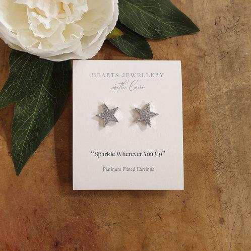 Star Earrings - Platinum Plated