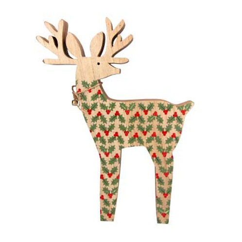 Wooden Reindeer with Holly and Bell Ornament