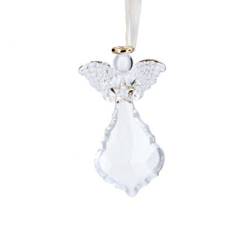 Glass Crystal with Angel Holding Star Decoration