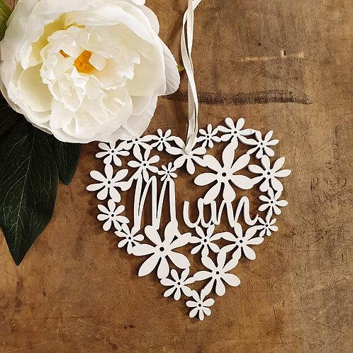 Hanging 'Mum' Floral Heart Decoration