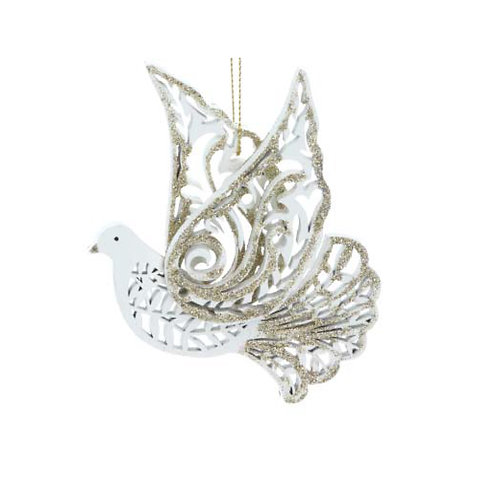 Cream and Gold Fretwork Flying Dove Decoration