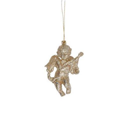 Gold Glitter Cherub Hanging Decoration