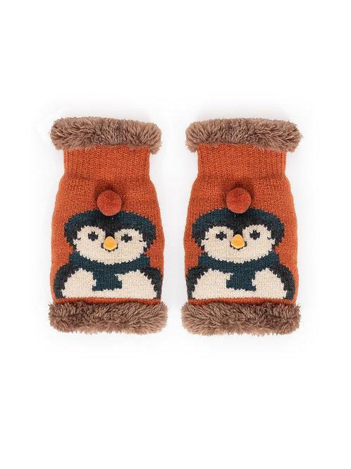 Cosy Penguin Wrist Warmers - Tangerine