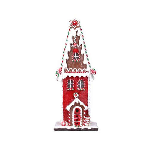 Red & White LED Gingerbread House Ornament -  Small