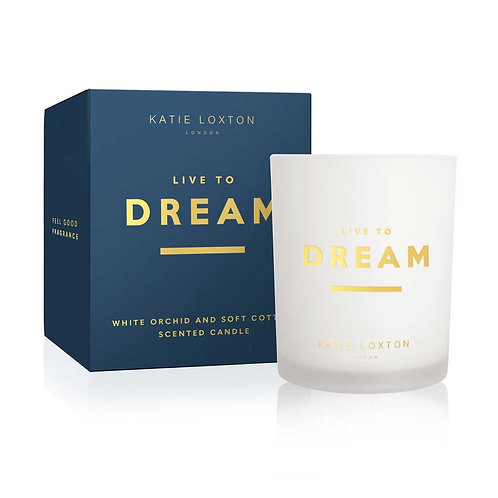 Katie Loxton - 'Live to Dream' Scented Candle - White Orchid & Soft Cotton