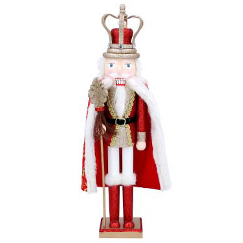 Wooden Nutcracker Ornament with Santa Cape - Large