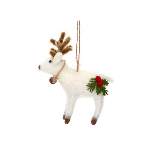 Mixed Wool Reindeer with Holly and Bell Decoration -White