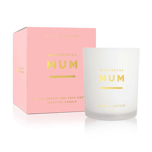 Katie Loxton - 'Wonderful Mum' Scented Candle - White Orchid & Soft Cotton