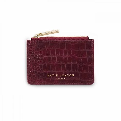 KATIE LOXTON CELINE FAUX CROC CARD HOLDER   BURGUNDY