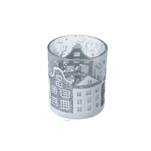 Clear Glass Tealight Pot with Silver & White Houses - Small