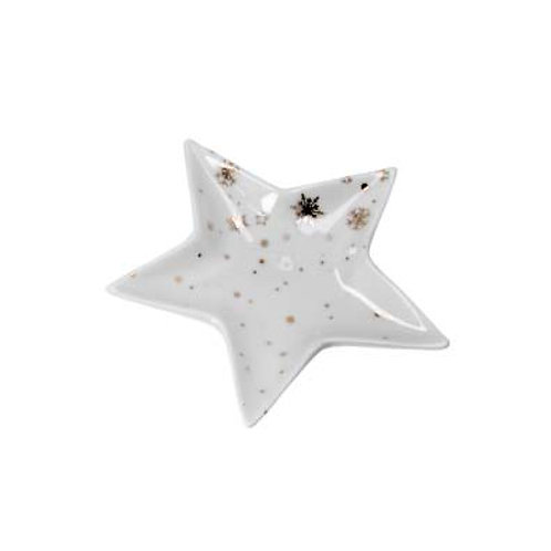 Gold & White Ceramic Star Trinket Plate - Medium