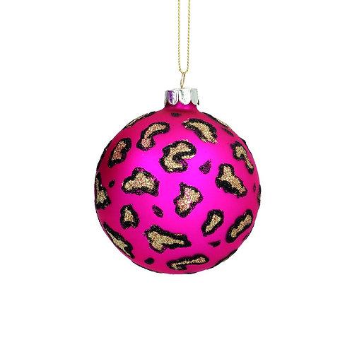 Matte Pink Leopard Print Glass Bauble