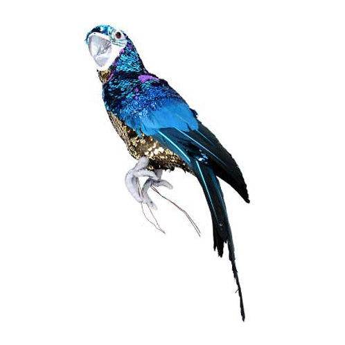 Gold and Blue Sequin Feather Parrot Ornament