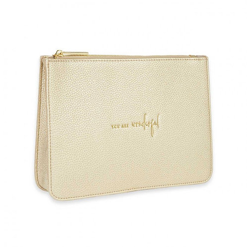 KATIE LOXTON STYLISH STRUCTURED POUCH | YOU ARE WONDERFUL | GOLD