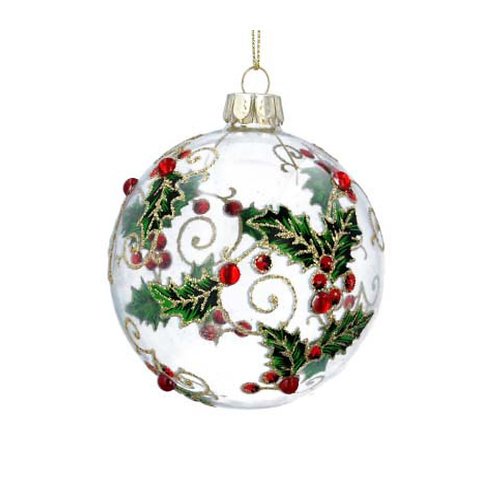 Clear Glass Bauble with Holly Details