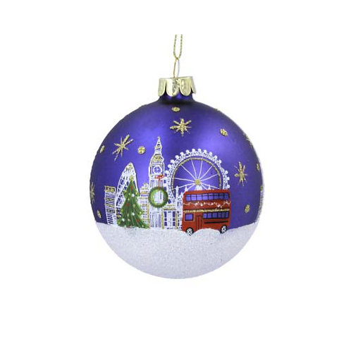 Painted London Scene Glass Bauble
