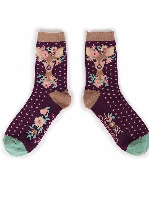 Floral Deer Ankle Sock