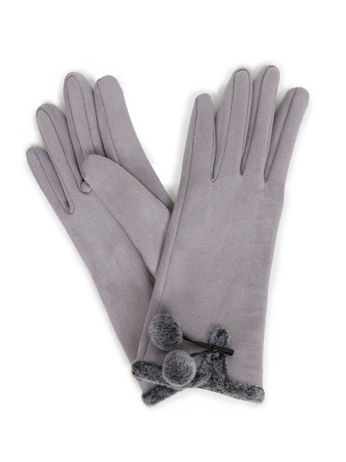 Amelia Faux Suede Gloves - Pale Grey