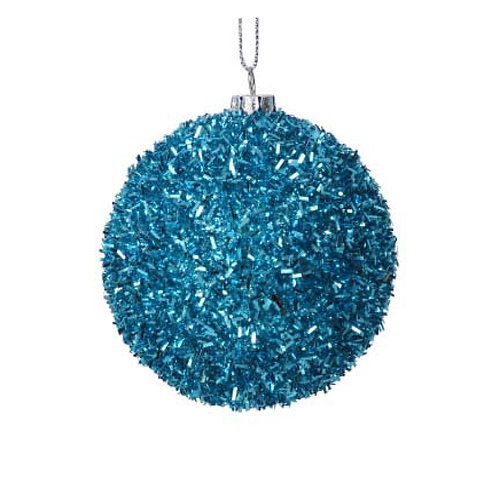 Turquoise Tinsel Ball Dec
