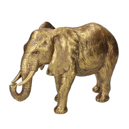 Old Gold Resin Elephant Ornament - Large