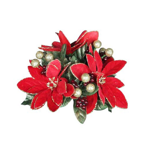 Poinsettia, Leaf and Berry Candle Ring - Small
