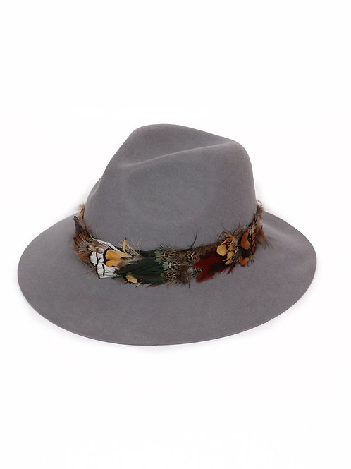 Feather Band Wool Hat - Charcoal
