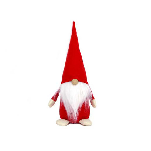 Red & White Fabric Santa Gonk Ornament