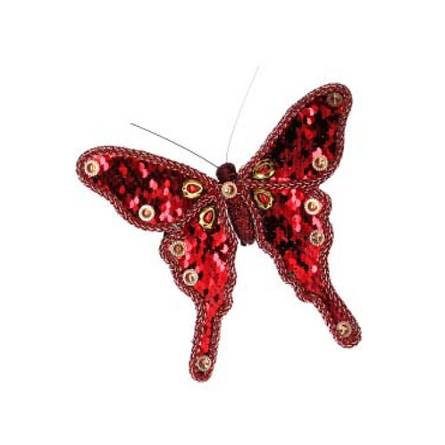 Red Fabric Sequin Butterfly Clip