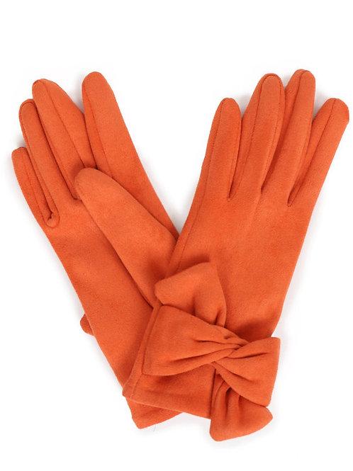 Henrietta Faux Suede Gloves - Tangerine