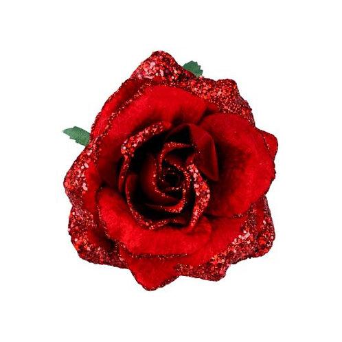 Red Glitter Rose Clip