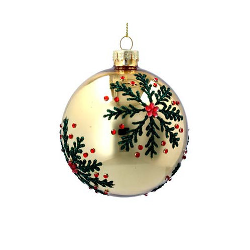 Lacquered Gold Glass Ball with Green & Red Snowflakes
