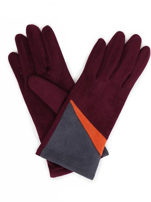 Ziggy Faux Suede Gloves - Plum Mix
