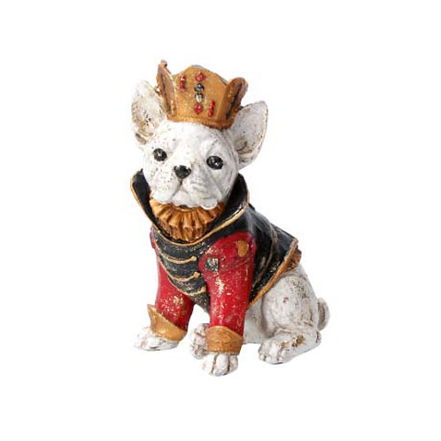 Golden French Bulldog with Crown Ornament