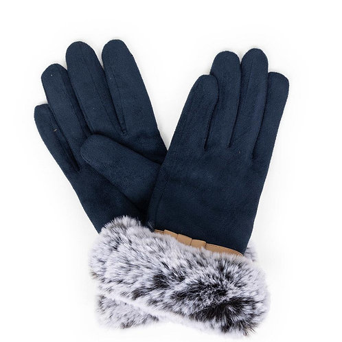 Penelope Faux Suede Gloves - Navy